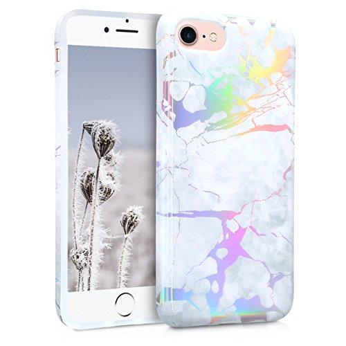 kwmobile Funda Compatible con Apple iPhone 7/8 / SE (2020) - Carcasa de TPU y mármol clásico en Blanco/Plata