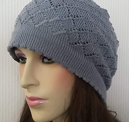 Übergangsmütze mit süßem Lochmuster Beanie Frauen Damen Mädchen Mütze MyCozyCap Wolle gestrickt knit cap hat grau-blau hell