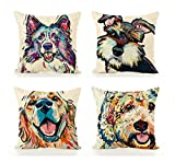 Emvency Decorative Throw Pillow Covers Cushion 18' x 18' Inches Set of 4 Cotton Linen Colourful Cute Pet Bichon Frise Dog Pattern Cartoon Dog Colourful for Room Bedroom Sofa Chair Car