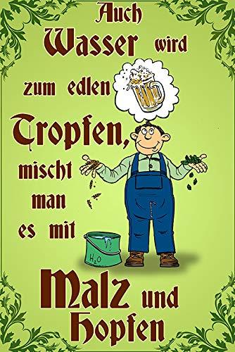 FS spreuk ook water wordt zum edele druppels. mout en hop bier metalen bord bordje 20 x 30 cm