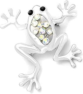 Silver Tree Frog Pin with Aurora Borealis Crystals