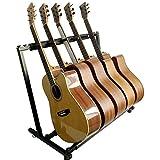 最新型 ギタースタンド(5本収納) 折りたたみ ユニバーサル 転倒防止用ゴム付属 楽器本体に傷が付くのを防ぎます 安定耐久 収納しやすい ブラケット (アコギ/ウクレレ/クラシック/エレキ/ベース/管楽器 対応スタンド) (ブラック)