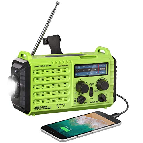 Weather Radio Rocam Emergency Solar Hand Crank Portable Radio AM/FM/SW/NOAA Weather Alert Radio with Cell Phone Charger, 3W LED Flashlight, Reading Lamp, SOS Alarm for Hurricane, Storm & Camping