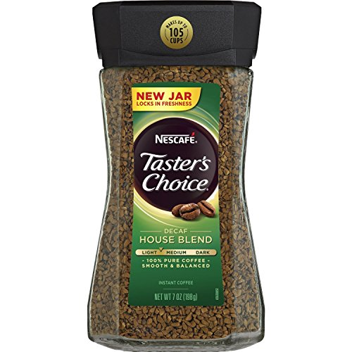 Nescafe Taster's Choice Decaf Instant Coffee, House Blend New Jar. Pack of 3 x 7 Oz
