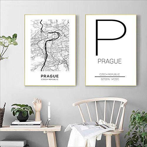 Praag stad Tsjechië kaart canvas schilderij posters en prints moderne kunst aan de muur foto's voor de woonkamer home decor- 50x70cmx2 stuks (geen frame)