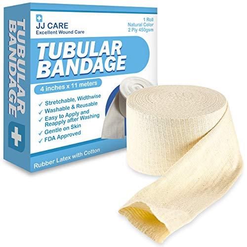 """JJ CARE Elastic Tubular Bandage 4"""" x 12 Yards [Premium] Cotton Stockinette Size F, Tubular Stockinette for Legs and Knees, 2 Ply Cotton Elastic Bandage Wrap, Tubular Compression Bandage by JJ CARE"""