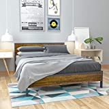 Weehom Metal Platform Bed Frame with Wood Headboard and Footboard Heavy Duty 14 Inch Beds Mattress Foundation Under-Bed Storage No Box Spring Needed No Noise-Free Queen