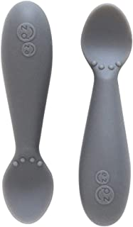 ezpz Tiny Spoon (2 Pack in Gray) - 100% Silicone Spoons for Baby Led Weaning + Purees - Designed by a Pediatric Feeding Specialist - 4 Months+