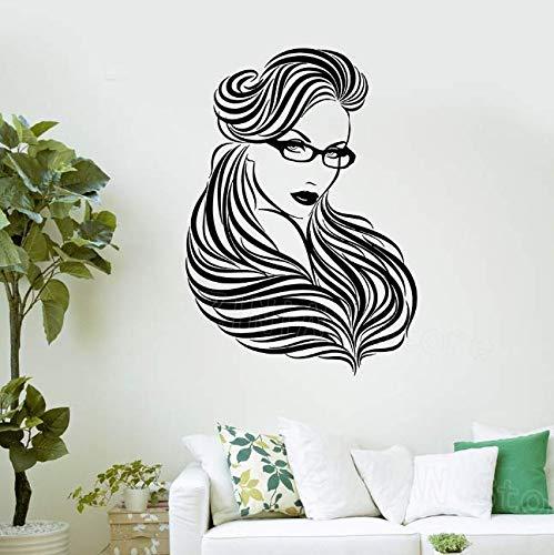 Gafas de mujer, pegatinas de pelo largo para pared, salón de belleza, habitación de niñas, calcomanías de vinilo para pared, carteles de decoración del hogar para dormitorio, 59 * 42Cm