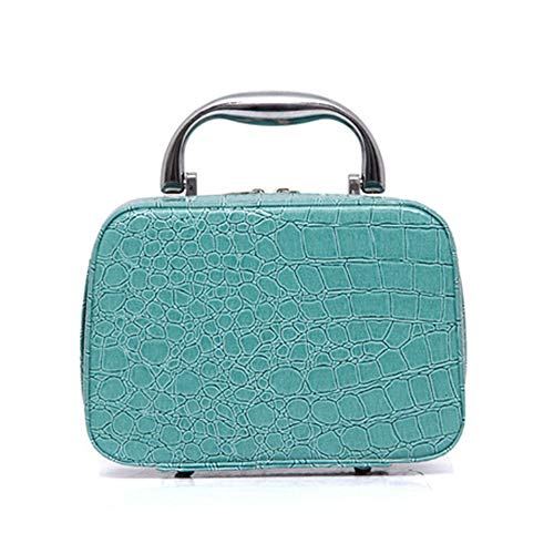 Boîte à Bijoux Sac Cosmétique Multi-Fonction Sac cosmétique Sac de Rangement de Sac de Bijoux en Cuir de Couleur Unie Grande capacité Portable en Cuir, Bleu