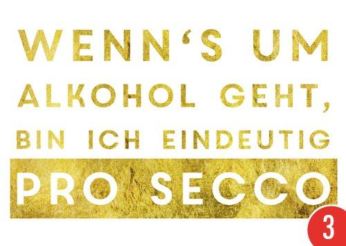 3er-Pack: Postkarte A6 +++ LUSTIG von modern times +++ ALKOHOL EINDEUTIG PROSECCO +++ MODERN TIMES © GOLD/Zeitgeist