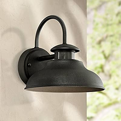 "Midland Outdoor Wall Light Fixture Urban Barn Black 9"" Motion Security Sensor Dusk to Dawn for House Deck Patio Porch - John Timberland"