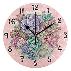 Romantic Angel Pink Cute Succulent Wall Clock,Silent Non Ticking - 10 Inch Quality Quartz Battery Operated Round Easy to Read Home/Office/School Clock