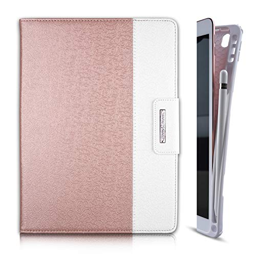Thankscase Case for iPad 10.2 / iPad 8th Gen 2020 / iPad 7th Gen 2019, Soft TPU Case with Pencil Holder [Compatible with Smart Keyboard], Stand Cover with Hand Strap, Wallet and Card Slots (Rose Gold)