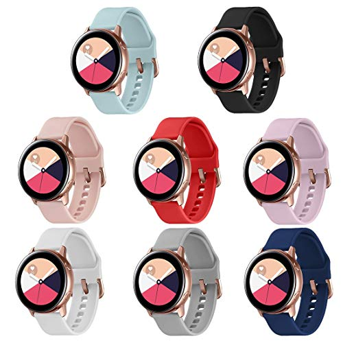 TECKMICO 8PCS Galaxy Watch Active/Active 2 Bands,20mm Replacement Bands Compatible for Galaxy Watch Active 2 40mm/44mm,Galaxy Active 40mm/Galaxy Watch 42mm with Rose Gold Watch Buckle (8-Pack, Small)