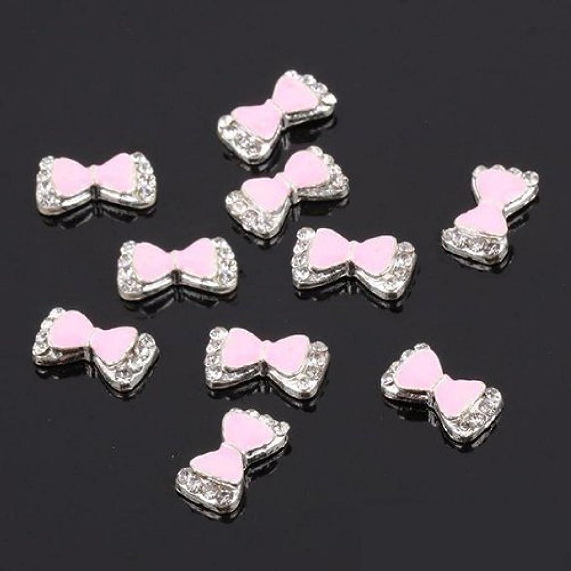 飲み込むクレーン血SODIAL(R) 10X 3D ホット 人気があるマルチラインストーン 蝶ネクタイ ネイルアート装飾ステッカー DIY-ピンク色