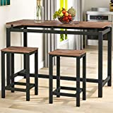 3 Pieces Bar Sets, Kitchen Pub Table and 2 Bar Stools, 3-Piece Metal Frame Breakfast Dining Table Set for Kitchen, Dining Room, Bar, Rustic Brown (Brown)