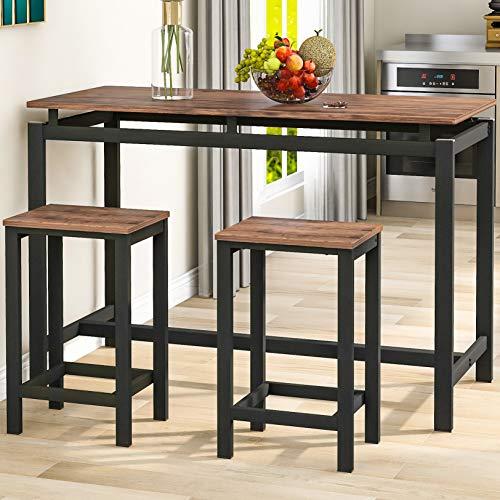 3 Stück Bartisch-Sets, Küche Pub Tisch und 2 Barhocker, 3-teiliges Metallgestell Frühstückstisch Set,Esstisch Stehtisch Bistrotisch für Küche, Esszimmer, Bar