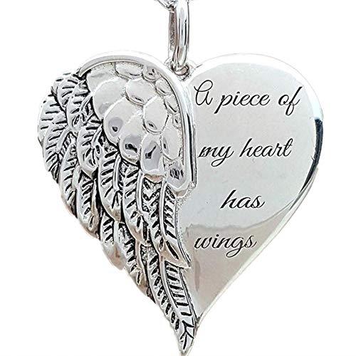 TOMMY LAMBERT Halskette mit Engelsflügel-Anhänger, Legierung, Herzform, modisch, Accessoire, Geschenk für Frauen und Mädchen – A Piece of My Heart Has Wings