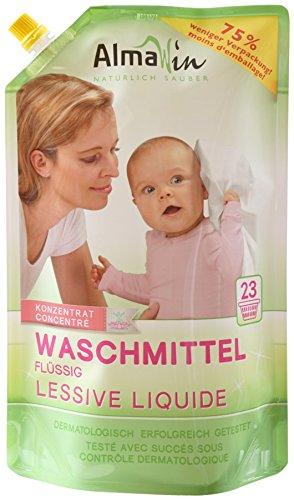 AlmaWin Waschmittel flüssig im Beutel 23 Waschgänge 1500 ml vegan, Eco Garantie, 3er Pack (3 x 1.5 kg)