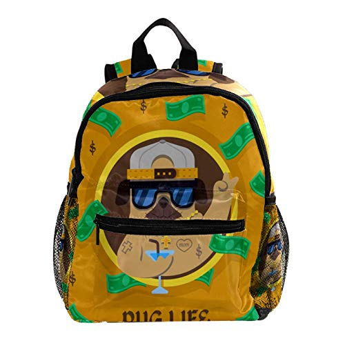 Backpack Carry On Backpack Travel Laptop Backpack,Shool Bookbag,Fun Pug Dog with Gangster Style