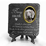 TULLUN Individueller Personalisiert Tiergrabstein Schiefer Gedenkstein + Ständer für Hund, Katze und andere Haustiere - Größe 10 x 10 cm - Foto