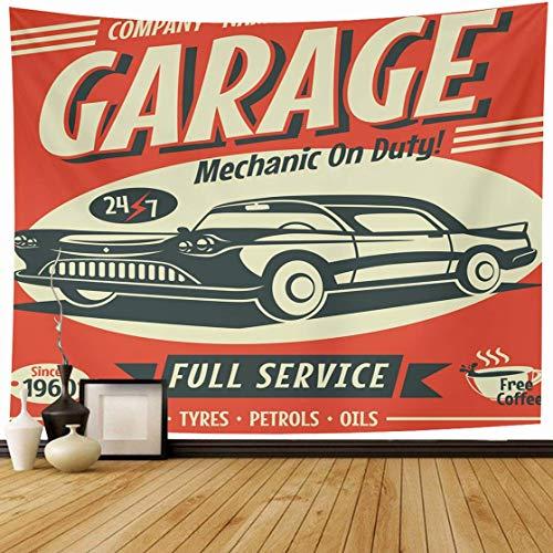 N\A Tapisserie Wandbehang veraltet Vintage Retro Auto Service Automotive Classic Garage Race Automechaniker Transport Home Decor Wandteppiche Dekorative Schlafzimmer Wohnzimmer Wohnheim