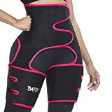 Waist Trainer for Women, 3 in 1 Neoprene Sweat Thigh Trimmer Butt Lifter (Red, M:fits Pants Size XXS-M)