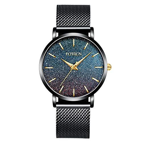 Ultradünne Uhren für Frauen wasserdichte Mesh schwarz Edelstahl mit Gold Mode Damenuhr Analoge Quarz-weibliche Armbanduhr Geschenk