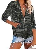 Sudadera de manga larga con cremallera para mujer con estampado de camuflaje y cremallera y cordón de camuflaje, blusa con capucha, sudadera con capucha