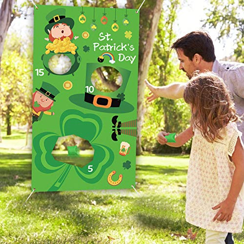 Tifeson St.Patrick's Day Bean Bag Toss Game with 3 Bean Bags for Kids Adults - Saint Patrick's Day Irish Party Game Supplies - Leprechaun, Shamrock Hanging Toss Game Banner