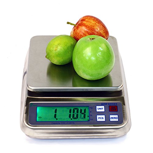 Kitchen Scale, 3 LB x 0.0001 LB (1.5 KG) MRW-3 Washdown Compact Food Balance with Rechargeable Battery & AC Adapter NEW !!