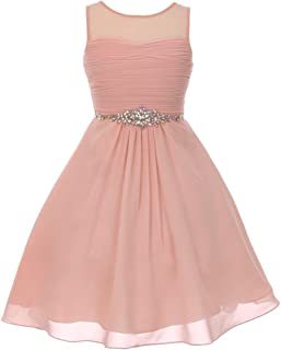 3d5030b3e6c Big Girls Blush Glitter Rhinestone Chiffon Flower Girl Dress 8-16