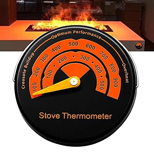 Termómetro digital para estufa de madera, color negro, termómetro magnético para horno, horno, cocina, caldera, chimenea, ventilador