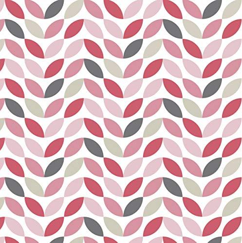 Venilia Klebefolie Petals-Motiv, Schuppenoptik, Geometrisches Muster, Dekofolie, Möbelfolie, Tapeten, Selbstklebende Folie, PVC, ohne Phthalate, Rosa, 45 cm x 2 m, Stärke 95µ (0,095 mm), 54787