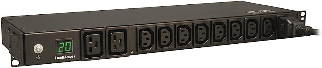 Tripp Lite Metered PDU, 20A, 10 Outlets (8 C13 & 2 C19), 200-240V, C20 / L6-20P Adapter, 12 ft. Cord, 1U Rack-Mount Power,...