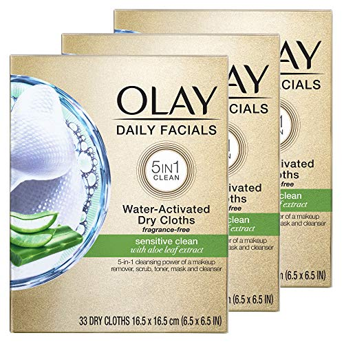Olay Daily Facials for Clean Sensitive Skin, Makeup Remover Wipes, Soap-Free and Fragrance-Free Cleanser Cloths, 33 Count (Pack of 3)