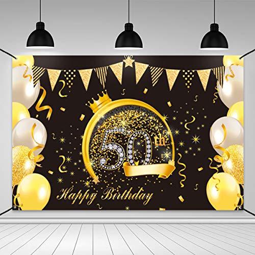 Xiangmall Decoración Cumpleaños Negro y Dorado 50 Telon de Fondo Fiesta Tela Fondo Fotografia Suministros Fiesta de Cumpleaños Photocall