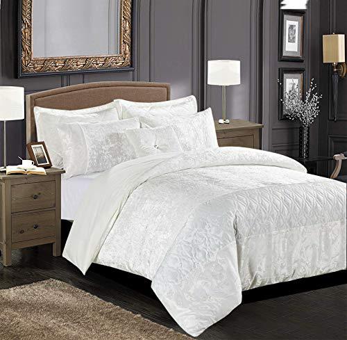 Juego de funda de edredón para cama de matrimonio, color blanco, lujoso juego de edredón para decoración de dormitorio, ultra suave y cálido de terciopelo aplastado