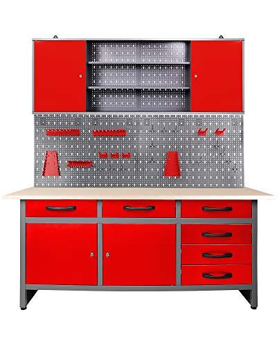 Ondis24 Werkstatteinrichtung rot 160cm, Werkstatt - Werkbank, Hängeschrank, Euro - Lochwand mit Haken