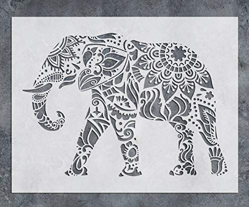 GSS Designs Elephant Wall Decor Stencil - Mandala Elephant Stencil (12x16 Inch) Laser Cut Painting Stencil - Floor Wall Tile Fabric Wood Stencils -Reusable Template for Wall Decals Transfer(SL-021)