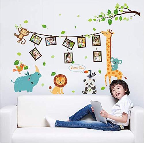 Newberli Animaux De Bande Dessinée Sticker Mural Zoo Cadre Photo Chambre Enfants Entrée Papier Peint Décoratif Papiers Arrangés Autocollants Muraux Ludiques