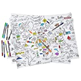 Image of eatsleepdoodle Colour-in World Map Activity Kit - 3 Large sheets to use as an educational colouring activity or giftwrap - complete with 10 washable felt tip pens