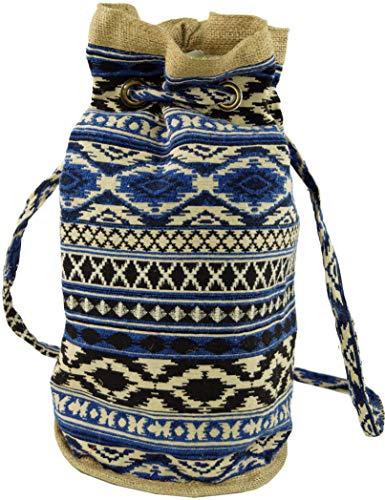 GURU SHOP Indischer Boho Rucksack, Ethno Schulterbeutel, Shopper - Blau, Herren/Damen, Baumwolle, Size:One Size, 45x35x23 cm, Ausgefallene Stofftasche