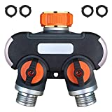 SANCEON 2 Way Garden Hose Splitter Heavy Duty Water Hose Adapter, Upgraded Hose Connector with 4 Rubber Washers to Connect Multiple Hoses for Outdoor Faucet, Sprinkler, Drip Irrigation Systems, Lawns