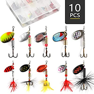 Fishing Lures Spinnerbait, Freshwater Saltwater Fishing Gear Lure Kit Set, Bass Trout Salmon Hard Metal Spinner Baits with a Tackle Box/Bag by Magreel-10PCS/16PCS