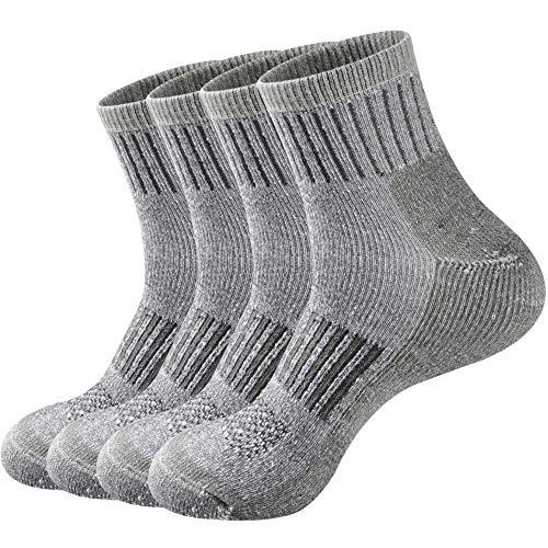 ECOEY EXPLORER Calcetines de lana merina senderismo al aire libre Trail Quarter para hombres y mujeres 4 pares, control de sudor que absorbe la humedad