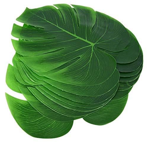 TOPINCN 12 Unids Hojas de Plantas Artificiales Verde Monstera Planta Hoja Fiesta Selva Tema BBQ Cumpleaños Decoración de Mesa de Boda Suministros Familia Decoración de Pared