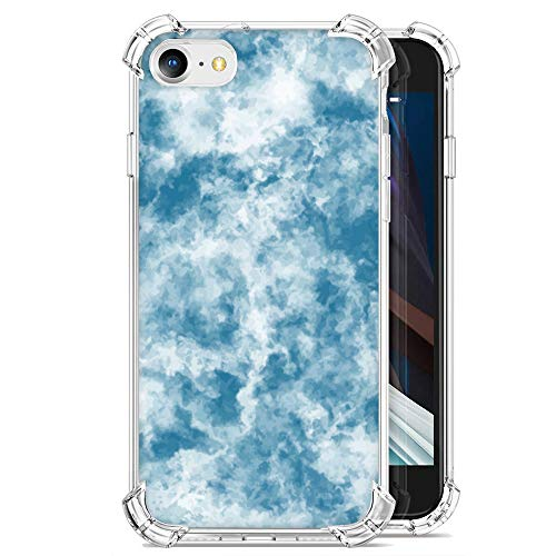 ZDO iPhone SE Soft Silicone Case - Cool Marble Design Shockproof TPU Bumper Phone Case Anti-Scratch Gel Protective Case for iPhone SE-6