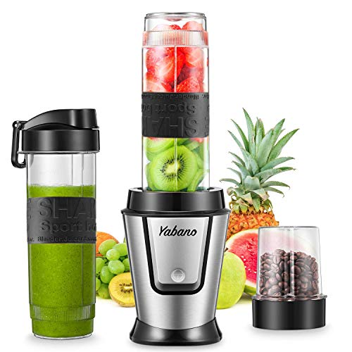 Personal Blender with 2 x 20oz Travel Bottle and Coffee/Spices Jar, Portable Smoothie Blender and Coffee Grinder in One, 500W Single Serve Blender for Shakes and Smoothies, BPA free, by Yabano